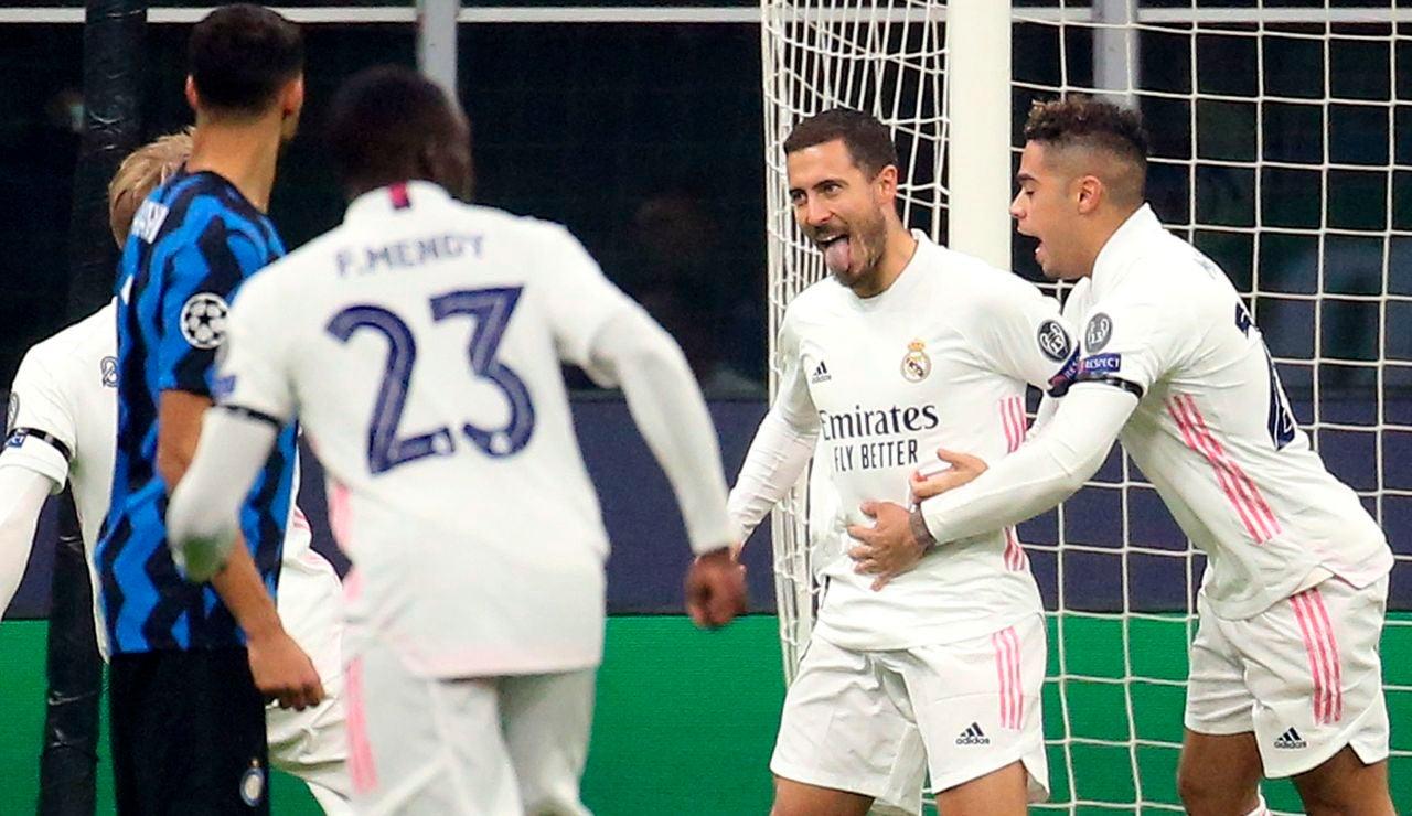 Hazard celebra su gol ante el Inter de Milán