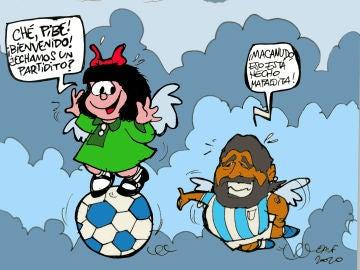 La muerte de Diego Maradona, en la viñeta gráfica