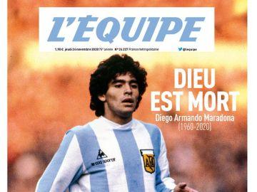"Las portadas de la prensa mundial tras la muerte de Maradona: ""Dios ha muerto"""