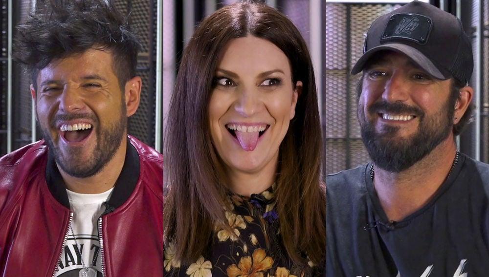 Pablo López, Laura Pausini y Antonio Orozco montan una juerga en el juego definitivo de 'La Voz'