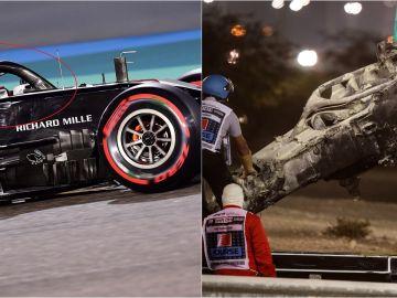 El Halo de Grosjean y su monoplaza tras el accidente
