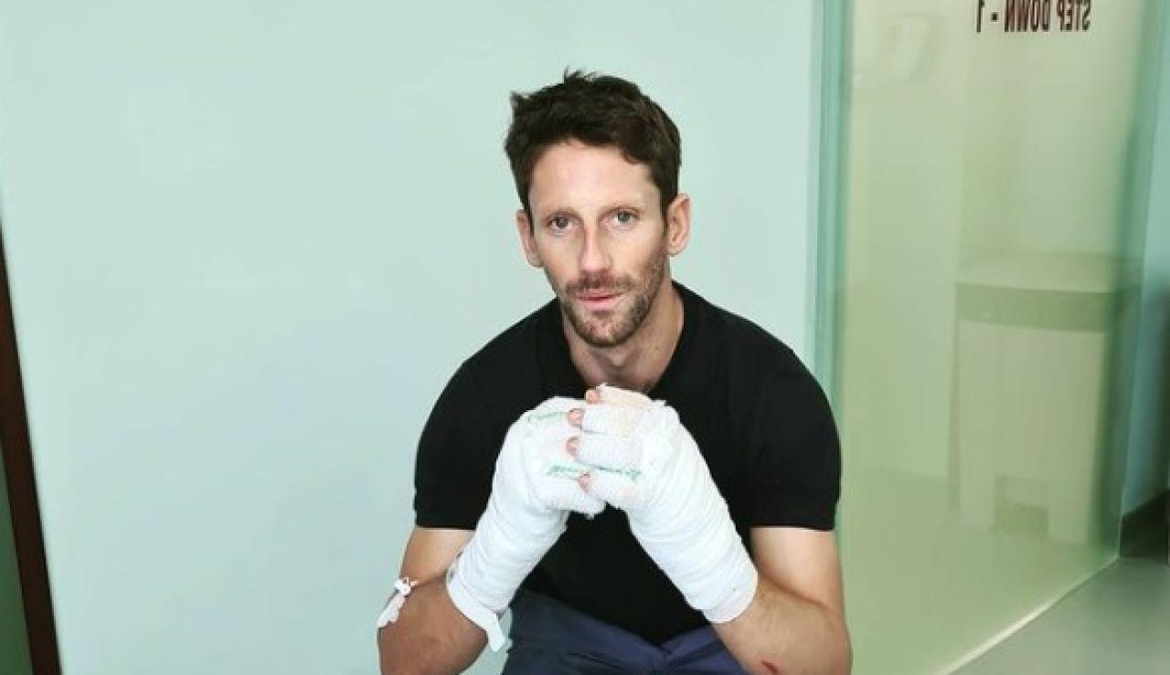 Romain Grosjean en el hospital