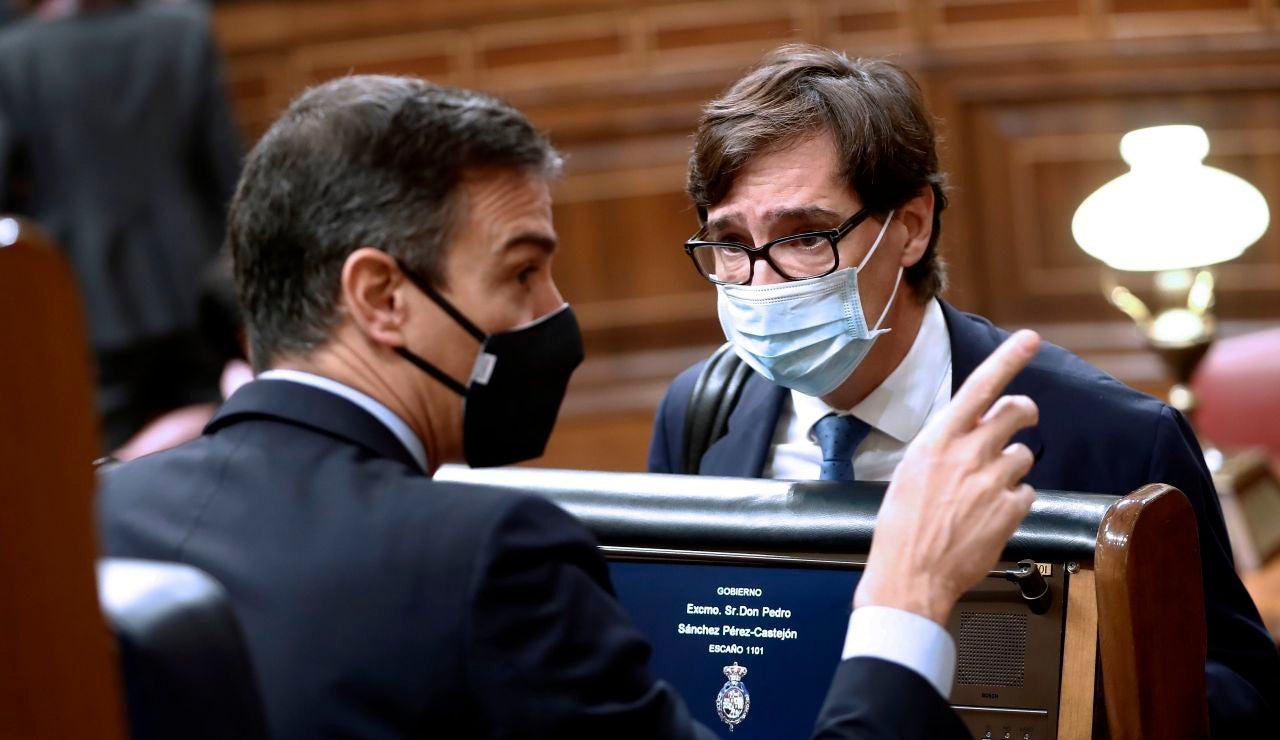 Pedro Sánchez y Salvador Illa en el Congreso