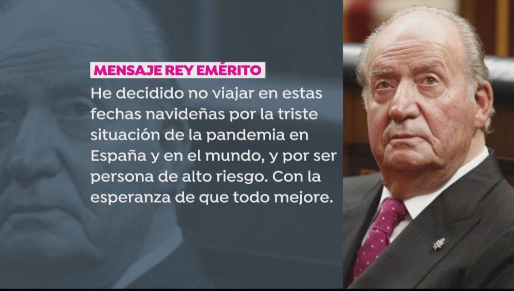 Mensaje del rey emérito.