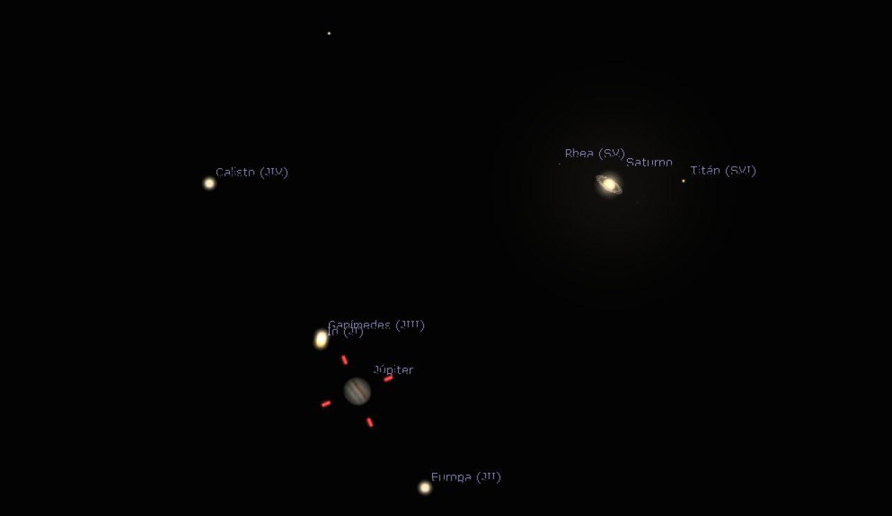 Imagen del telescopio de Júpiter y Saturno