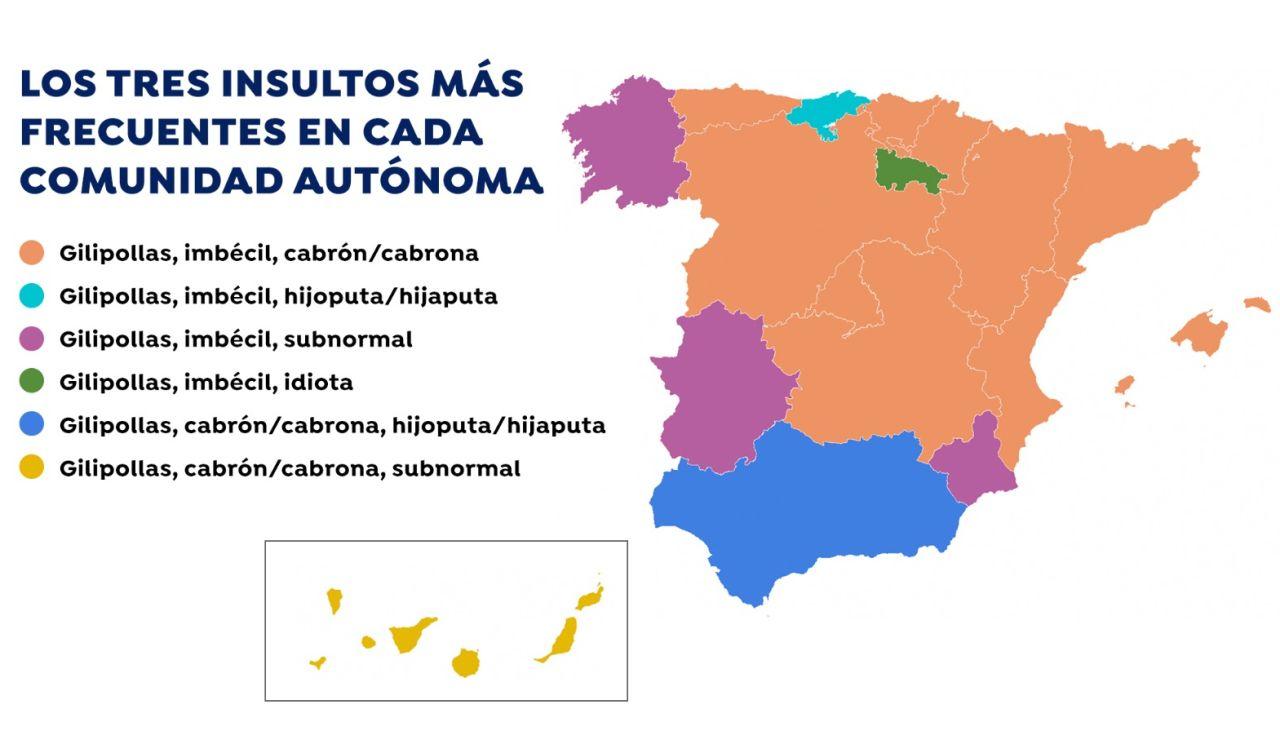 El mapa de los insultos en España: cuáles son los improperios más utilizados por comunidad autónoma