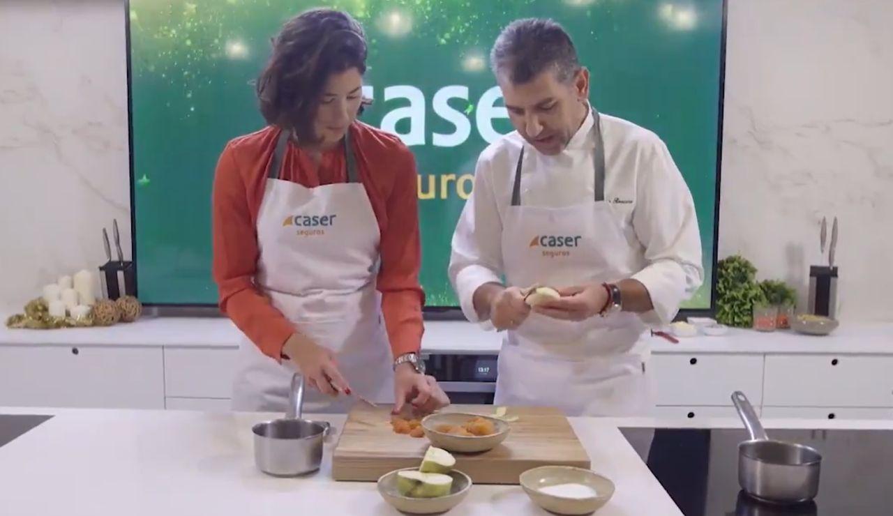 Garbiñe Muguruza y Paco Roncero elaborando el menú navideño