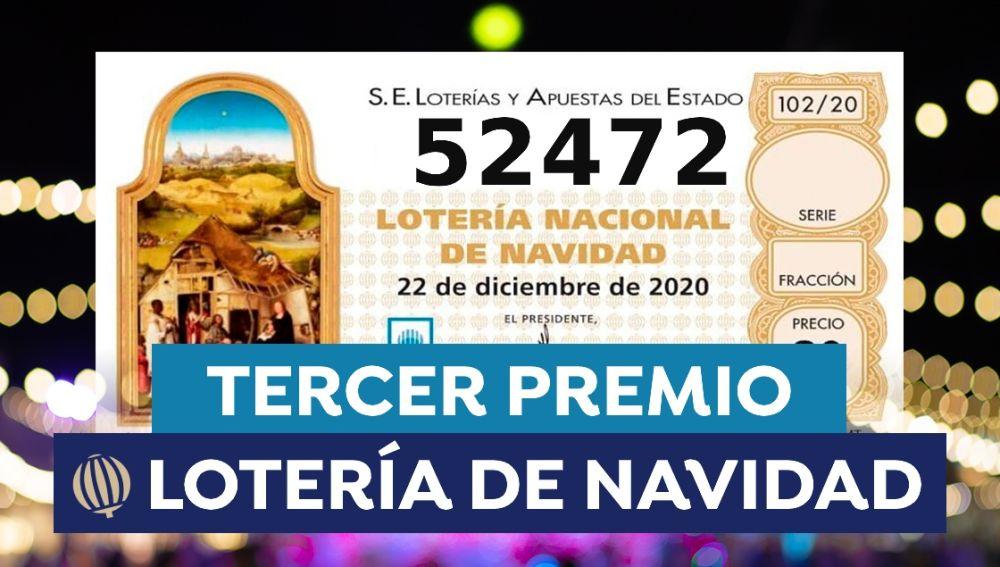 52472, tercer premio de la Lotería de Navidad 2020