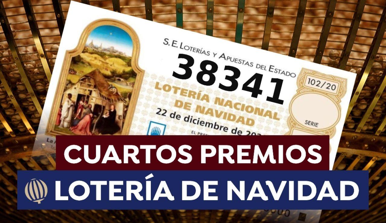 38341, segundo cuarto premio de la Lotería de Navidad 2020