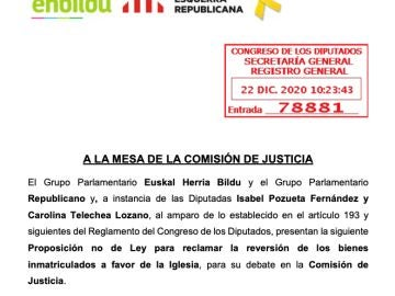 Proposición no del ley presentada por EH Bildu y ERC