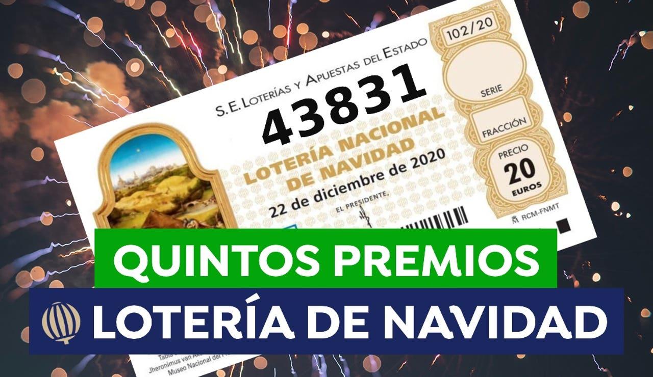 43.831, séptimo quinto premio de la Lotería de Navidad 2020