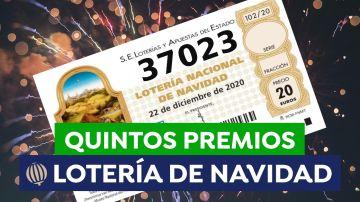 37023, segundo quinto premio de la Lotería de Navidad 2020