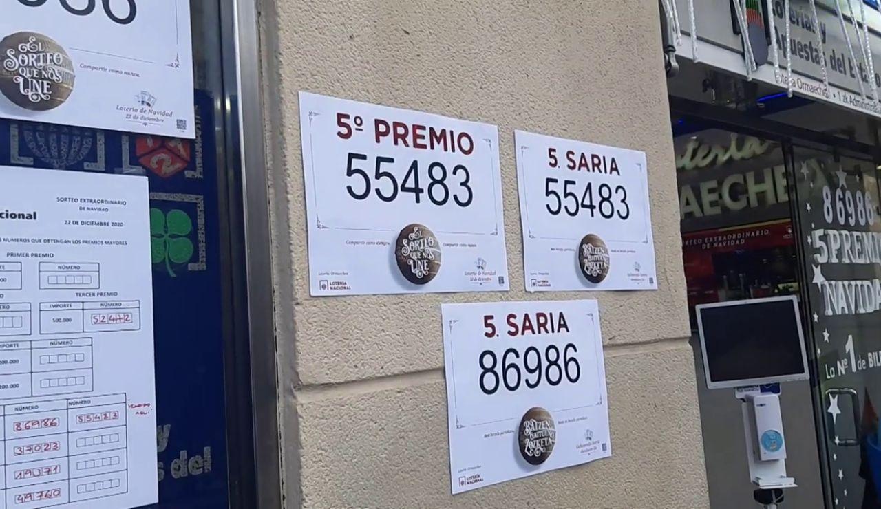 Doble suerte con dos quintos premios en la mítica administración de Ormaechea, Bilbao