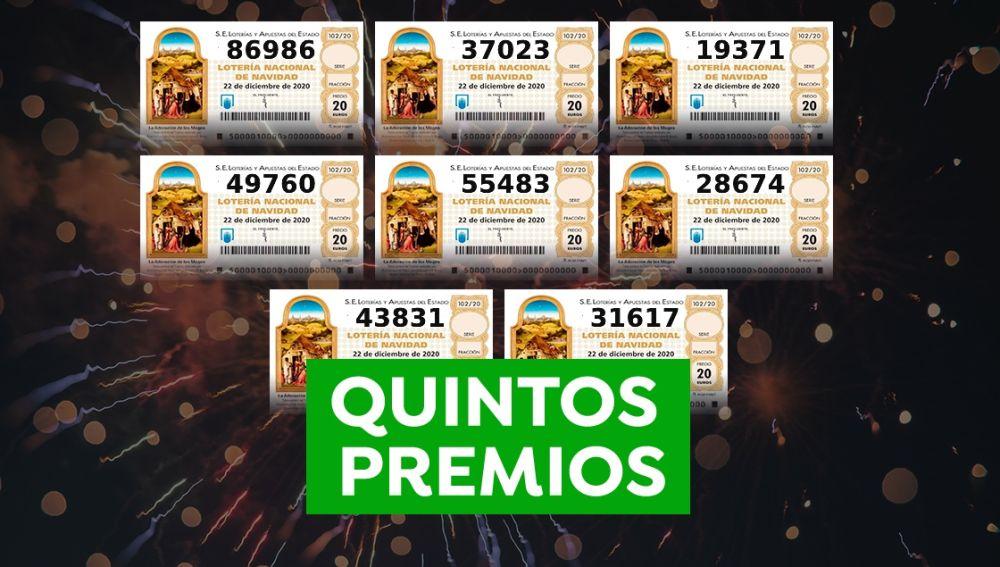 Todos los quintos premios de la Lotería de Navidad