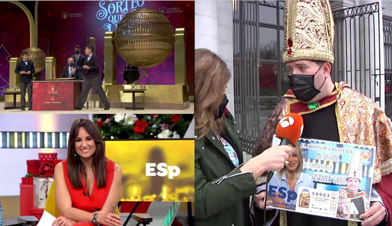 Obispo con el décimo de Susana Griso en la Lotería de Navidad 2020