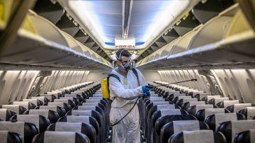 Desinfección de aviones