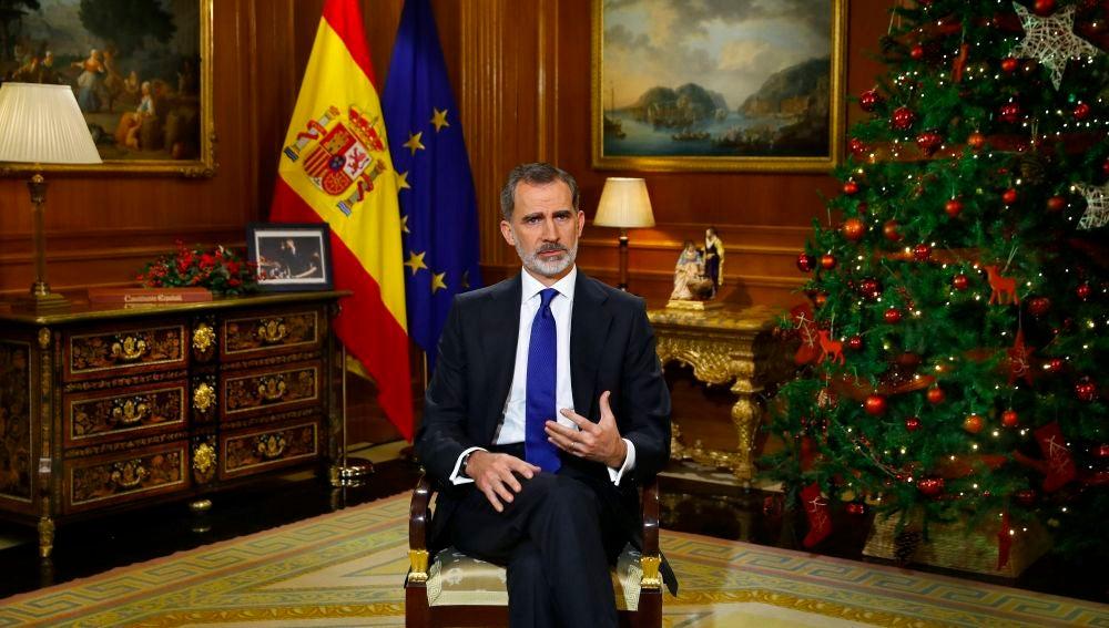 A3 Noticias 1 (25-12-20) Reacciones al discurso de Navidad del rey Felipe VI: del apoyo de PP y Cs a las críticas de Podemos e independentistas
