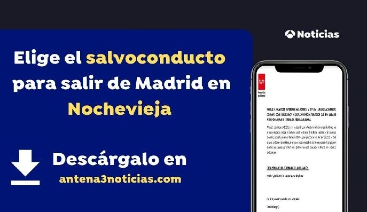 Imagen del salvoconducto para desplazarse de Madrid por Nochevieja