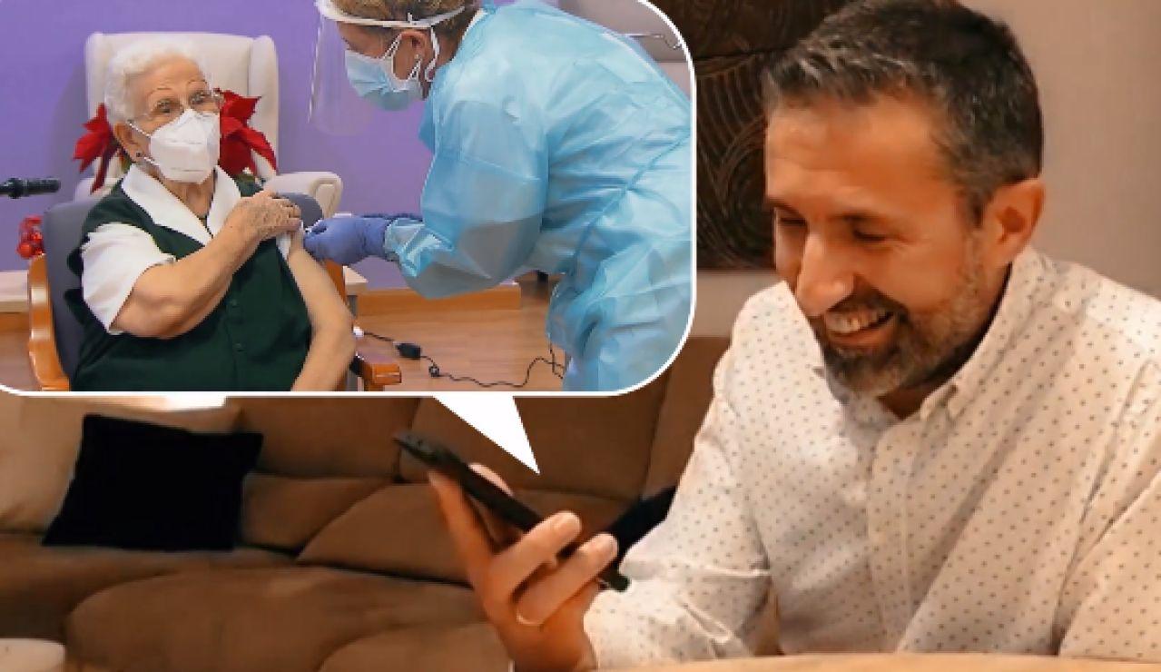 """Araceli confiesa a su nieto que ha tenido que """"hacerse la fuerte"""" en el momento de la vacunación contra el coronavirus"""