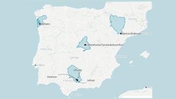 Mapa de la fabricación de la vacuna contra el coronavirus en España