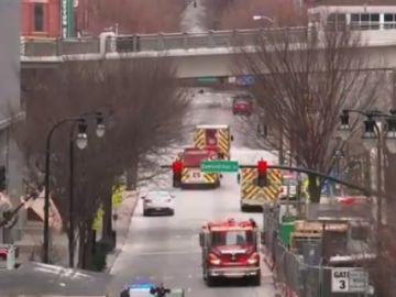 Imagen de la zona de la explosión en Nashville