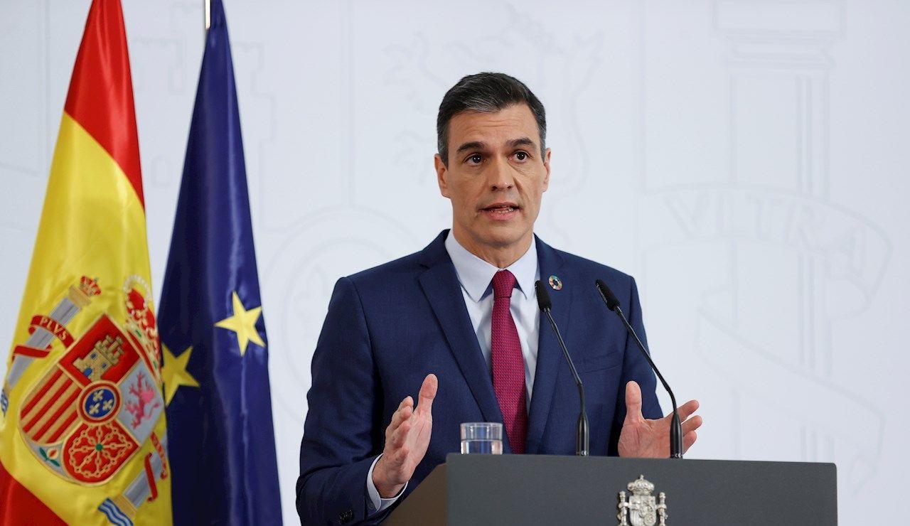 Pedro Sánchez , durante su comparecencia para hacer balance de su gobierno durante 2020