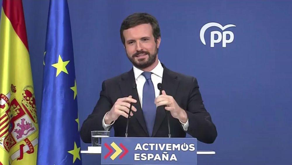 Pablo Casado en rueda de prensa sobre el balance de 2020