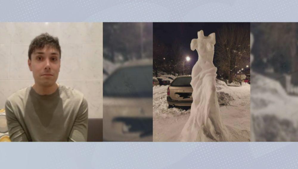 Un osteópata esculpe la Venus de Milo en la nieve