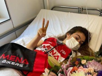 La ciclista Enara López, tras sufrir un atropello