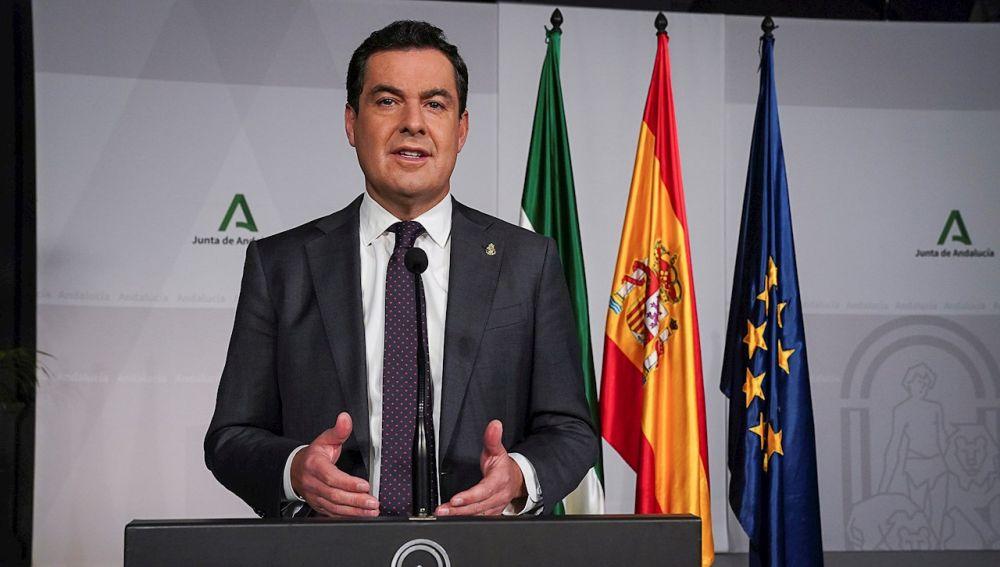 El presidente de la Junta de Andalucía, Juan Manuel Moreno Bonilla