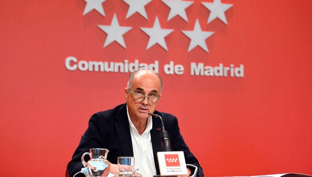 Antonio Zapatero, en una rueda de prensa de la Comunidad de Madrid.