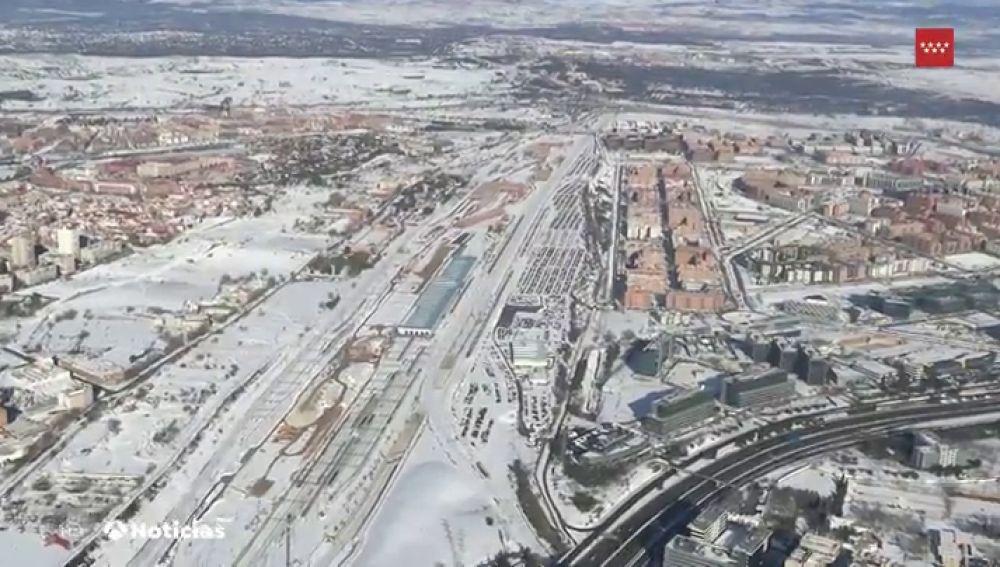 Así se ve Madrid desde el aire una semana después del temporal Filomena