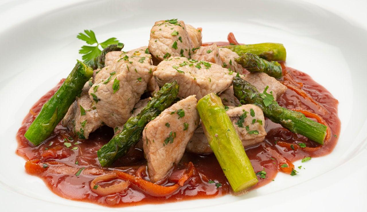 Receta de cerdo salteado con salsa cumberland, de Karlos Arguiñano