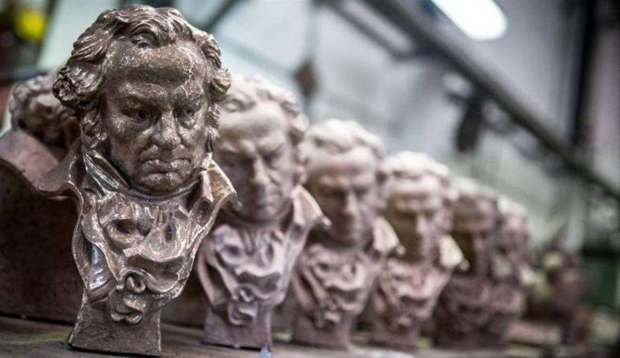 Imagen genérica de varias estatuillas de los Premios Goya, los galardones oficiales de la Academia de Cine