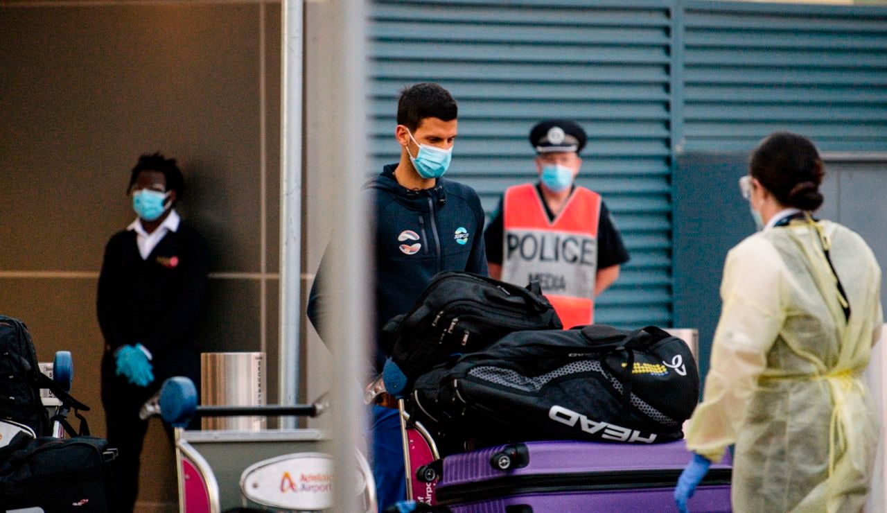 Novak Djokovic, a su llegada a Australia