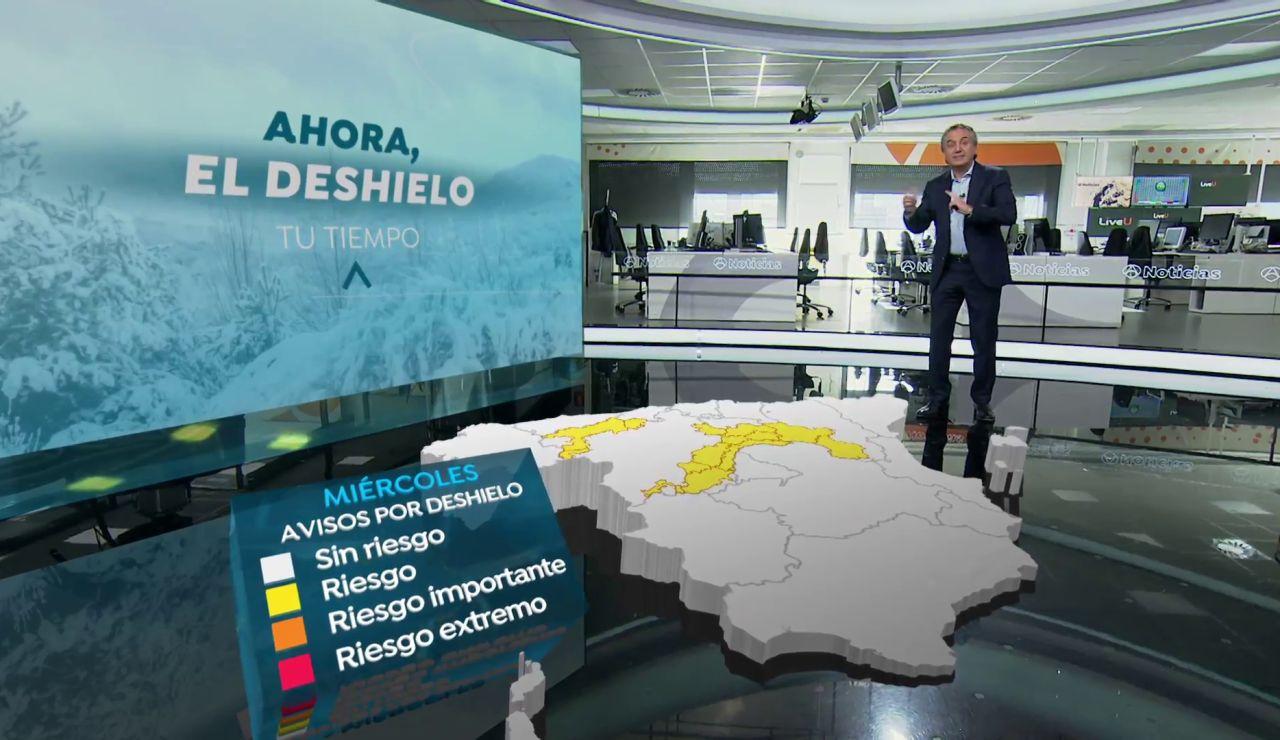 El mapa 3D que muestras las zonas de riesgo por deshielo en España