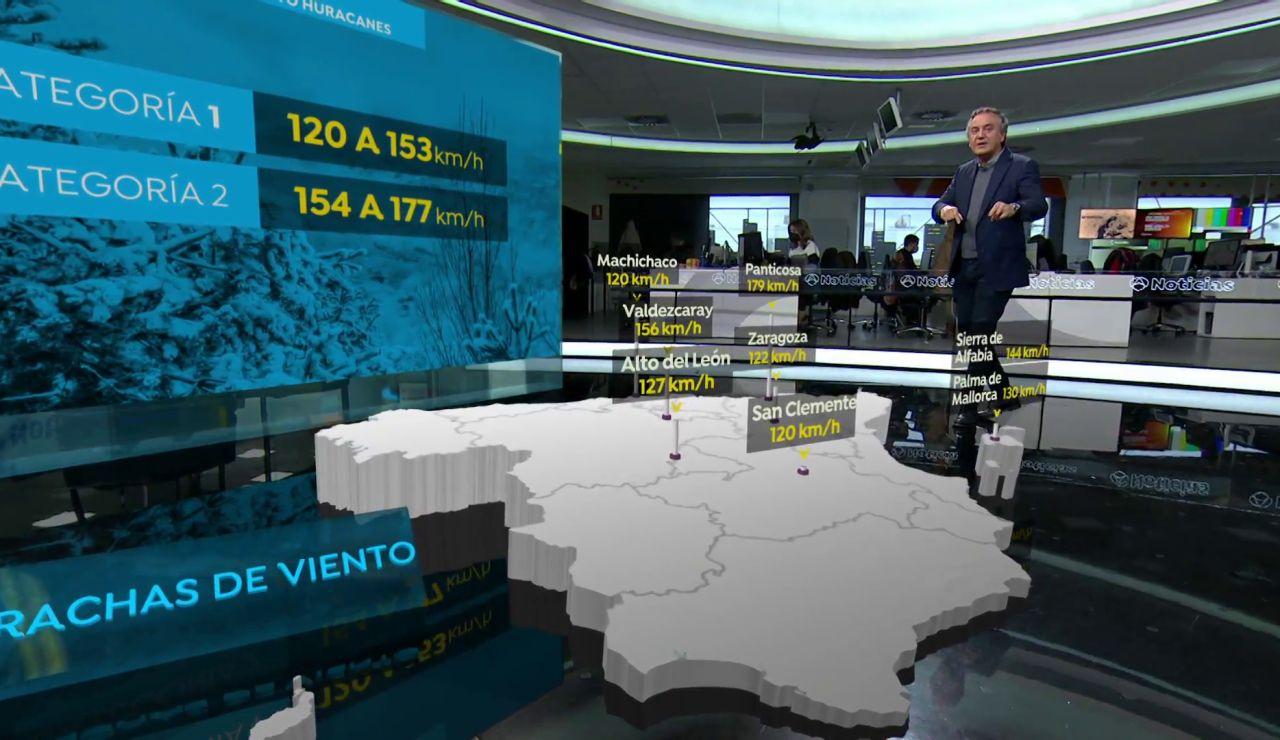 El mapa 3D de los vientos huracanados en España
