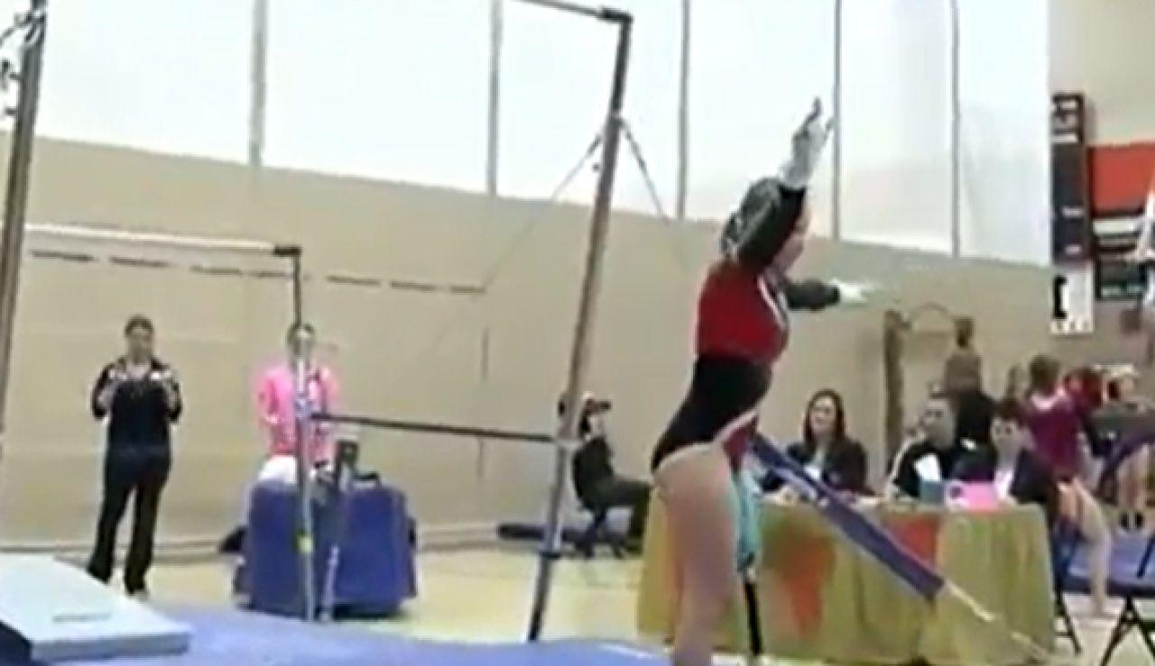 Kate Foster entrenando con una prótesis