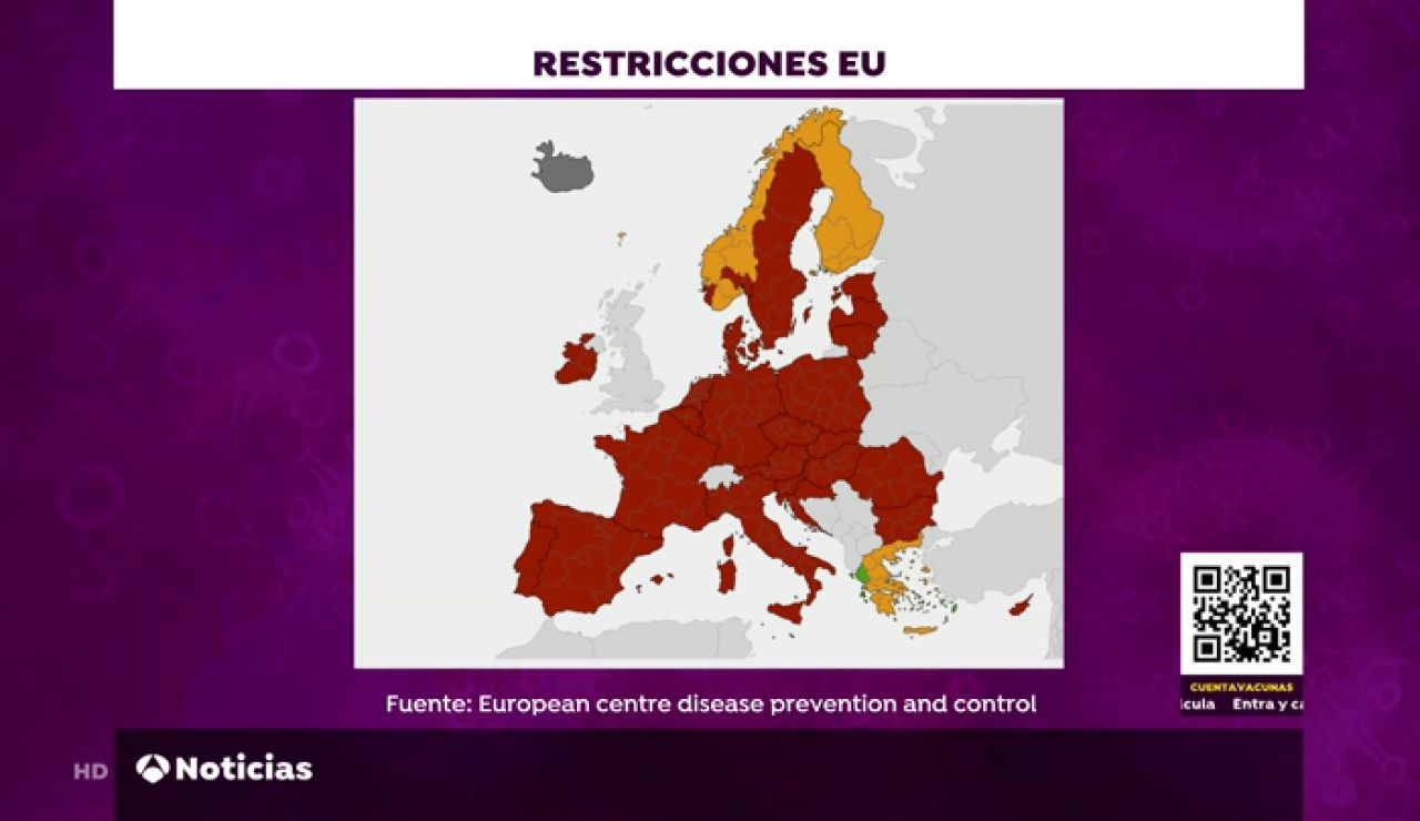Países en los que se supera la tasa de incidencia no recomendable para Bruselas