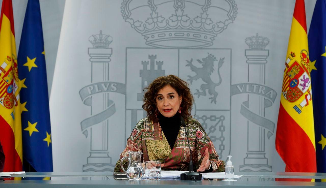 María Jesús Montero, portavoz del Gobierno, en una rueda de prensa.