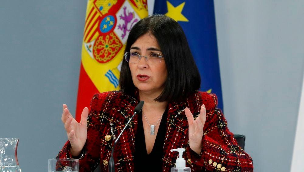 Carolina Darias, durante una rueda de prensa en Moncloa.