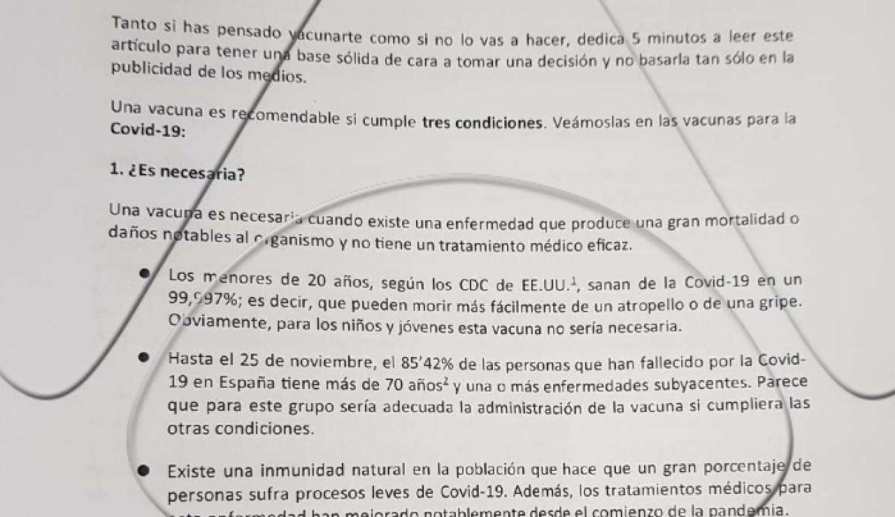 Panfleto negacionista repartido en Córdoba