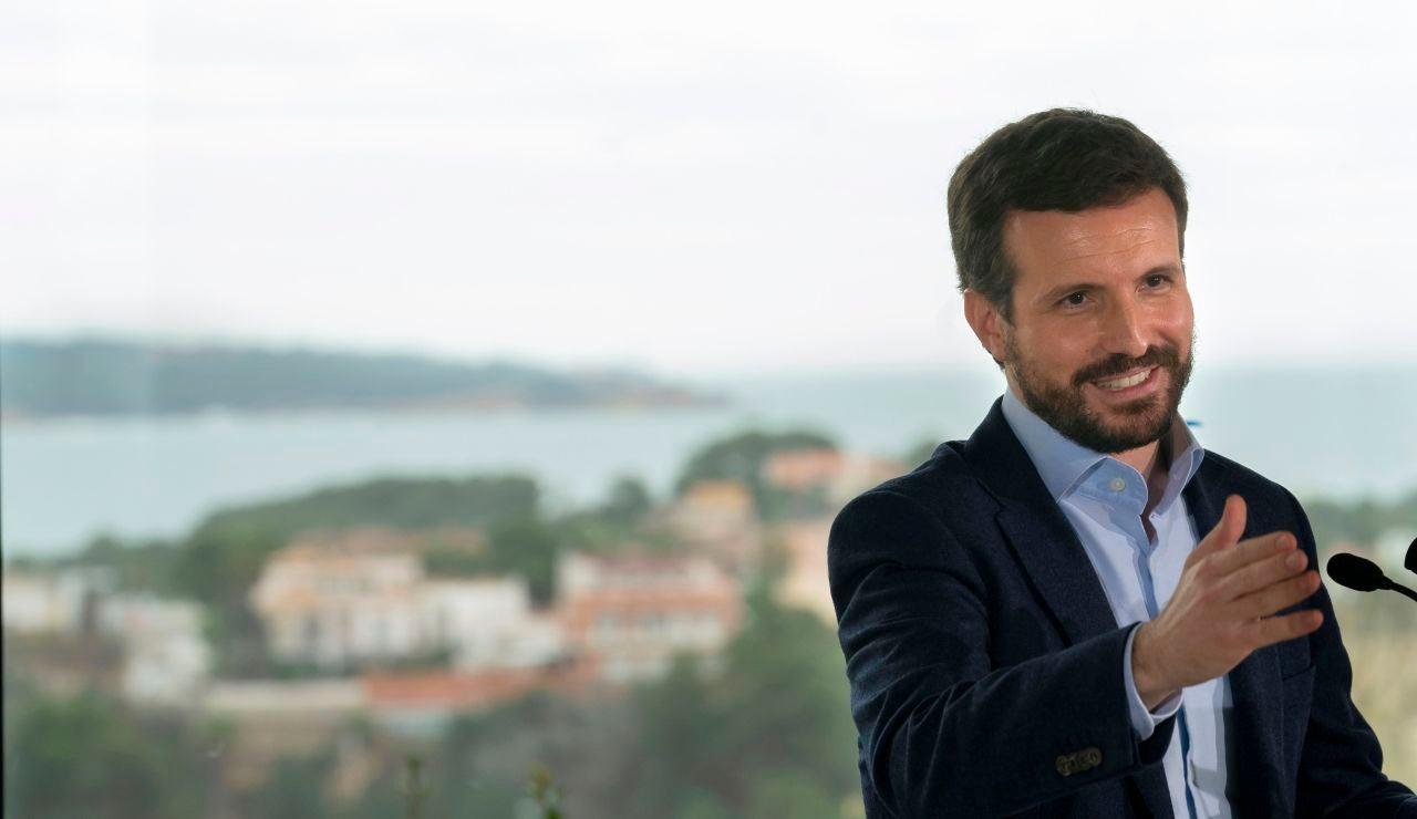 El presidente del PP, Pablo Casado, en un mitin en Tarragona