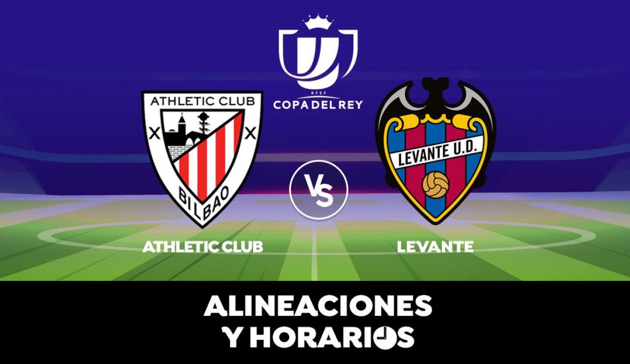 Athletic - Levante: Horario, alineaciones y dónde ver el partido de Copa del Rey en directo