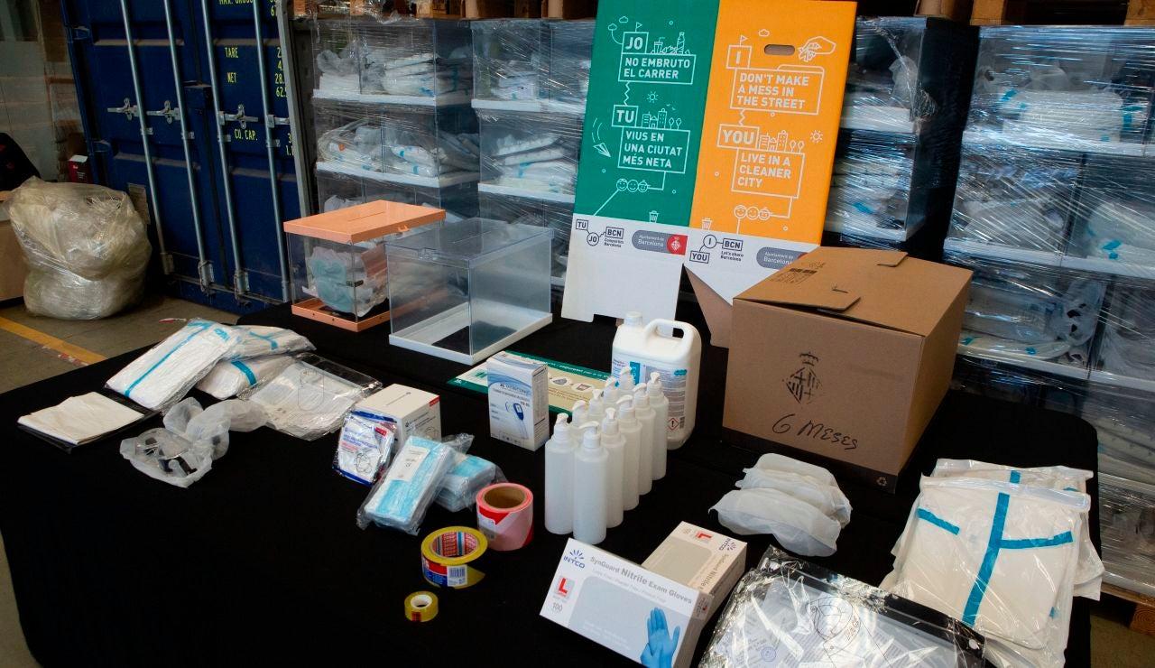 Material de protección frente al coronavirus de cara a las elecciones catalanas 2021