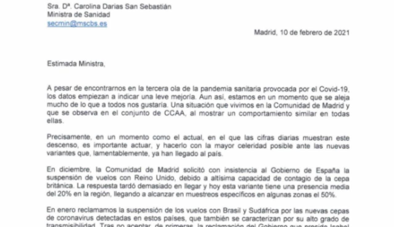 Imagen de la carta remitida por la Comunidad de Madrid a Carolina Darias
