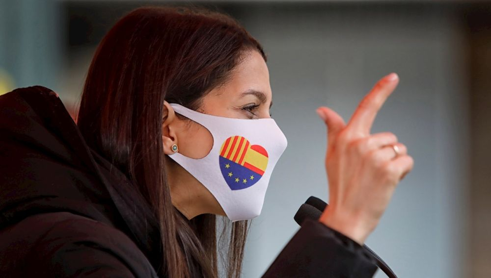 La presidenta de Ciudadanos, Inés Arrimadas, en un en un acto de campaña en apoyo a la candidatura de Carlos Carrizosa a la presidencia de la Generalitat.