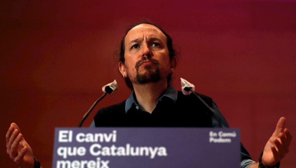 El vicepresidente segundo del Gobierno y líder de Podemos, Pablo Iglesias, durante un acto de la campaña electoral catalana