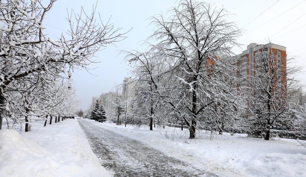 Vista de una calle helada en Moscú