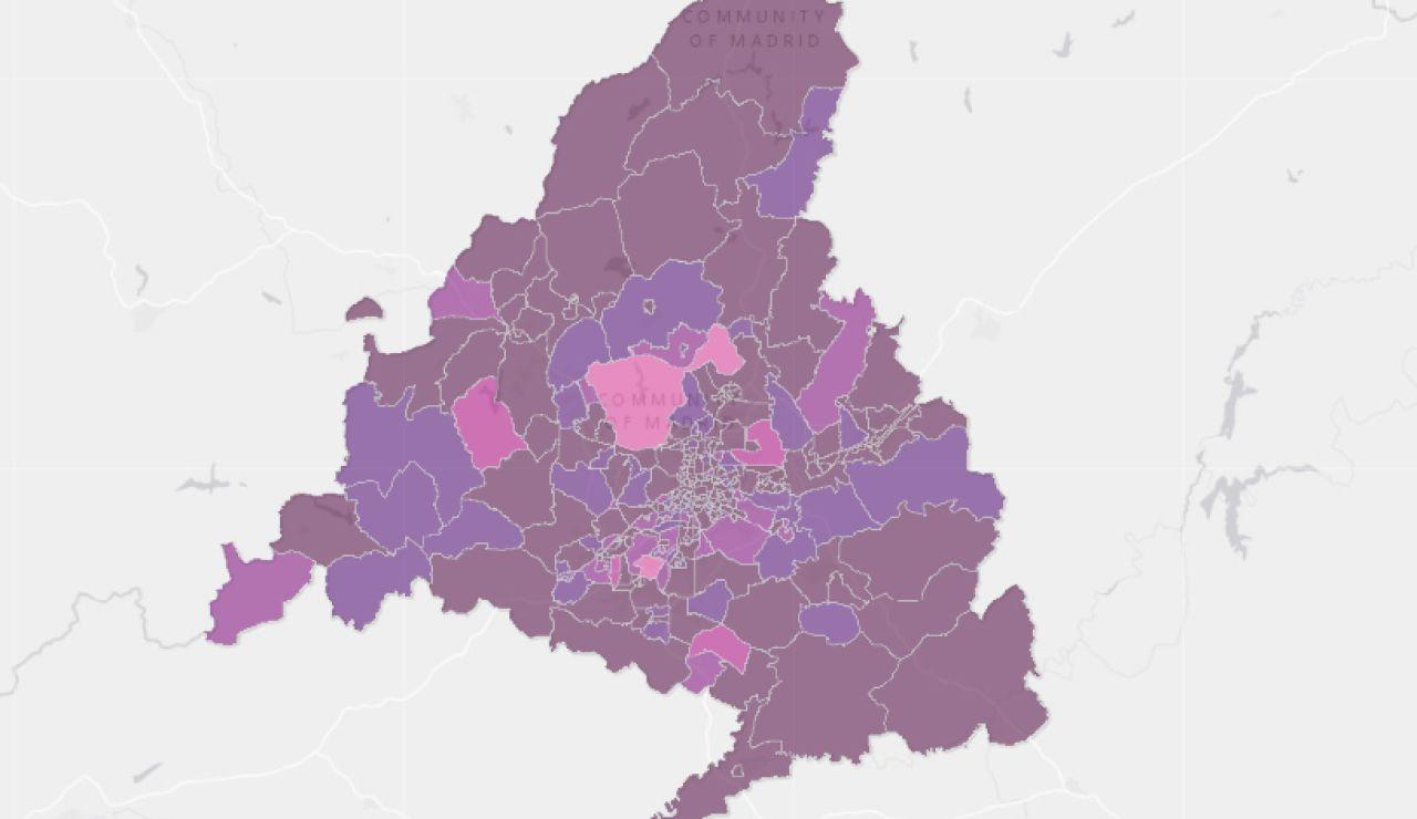 Mapa de zonas básicas confinadas y restricciones en la Comunidad de Madrid